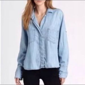 Elevenses Anthropologie Chambray Button Down Shirt